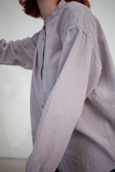 nest Robe Chambray Paper Band-Collar Shirt in Lavender | Oroboro Store | New York, NY
