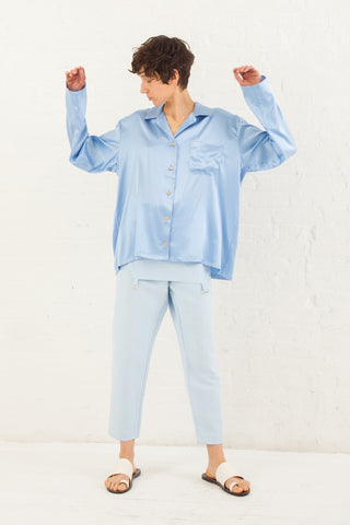 Baserange Nogales Shirt Silk Satin in Everest Blue | Oroboro Store | New York, NY