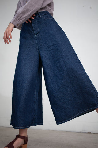 nest Robe Linen Washi Paper Denim Wide-Leg Pant in Indigo | Oroboro Store | New York, NY