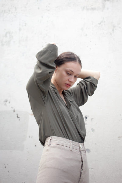 The Newton Blouse in Olive