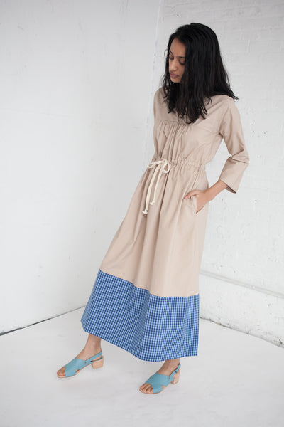 Ari Dress in Blue Gingham/Khaki