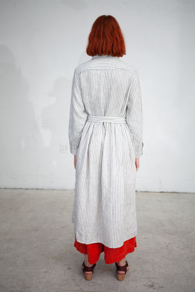 Ichi Antiquites Linen Stripe Dress in White Stripe | Oroboro Store | New York, NY