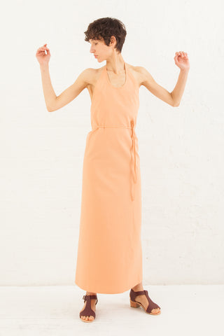 Baserange Apron Dress Raw Silk in Peach | Oroboro Store | New York, NY