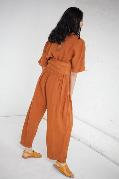 V Neck Jumper in Rust