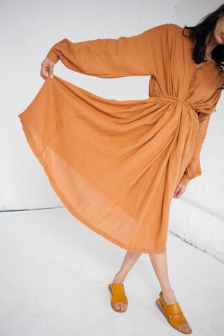 Black Crane Poet Dress in Rust | Oroboro Store | Brooklyn, New York