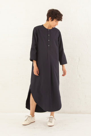 Studio Nicholson Collarless Long Dress Cotton in Dark Navy | Oroboro Store | New York, NY