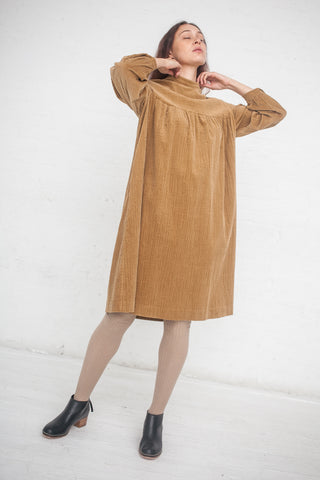 AVN Corduroy Empire Waist Dress in Beige | Oroboro Store | New York, NY