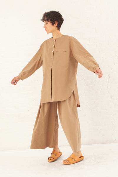 Studio Nicholson Volume Double Split Collarless Shirt Cotton in Tan | Oroboro Store | New York, NY