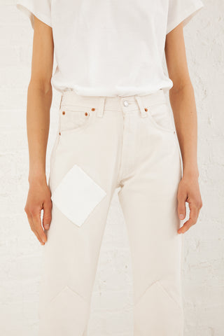 B Sides Diag Patchwork Jean in White | Oroboro Store | New York, NY