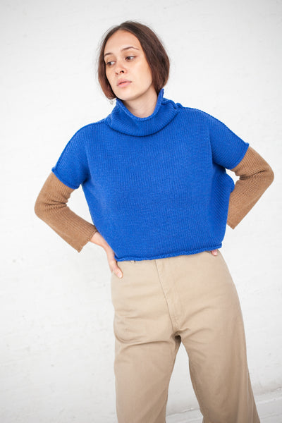 AVN Color Block Sweater in Blue/Camel | Oroboro Store | New York, NY