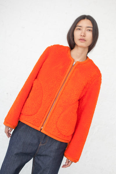 Sofie D'Hoore Lee Coat - Curly Hair Shearling in Orange | Oroboro Store | New York, NY