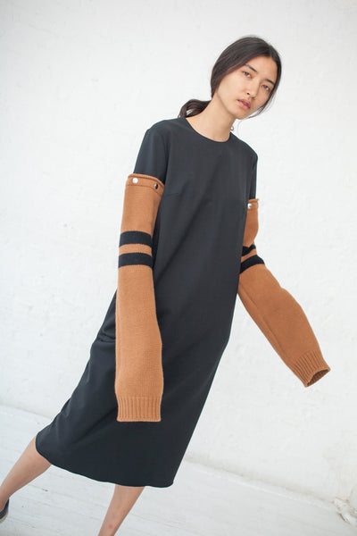 Hache Dress with Removable Sleeves in Camel/Black Stripe | Oroboro Store | New York, NY