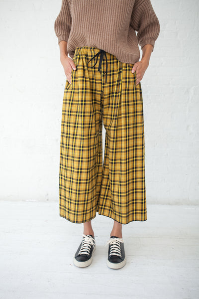 Hache Plaid Pant Cotton in Yellow | Oroboro Store | New York, NY