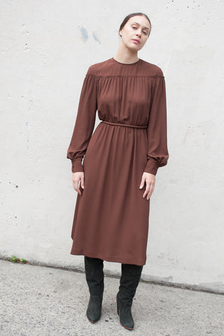 Veronique Leroy Dress with Tie in Chestnut | Oroboro Store | New York, NY
