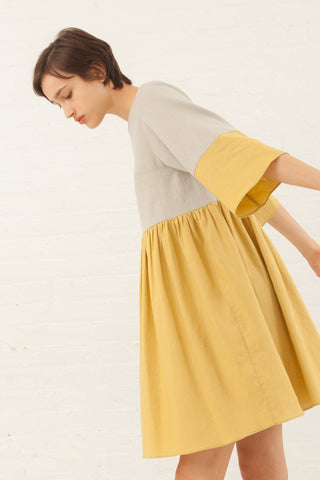 Correll Correll Flocco Dress in Yellow/Sage | Oroboro Store | New York, NY