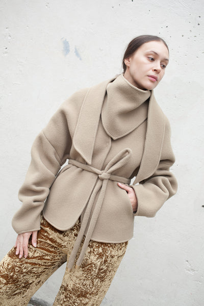 Veronique Leroy Coat with Tie in Beige | Oroboro Store | New York, NY