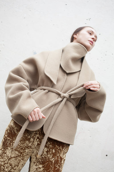 Coat with Tie in Beige