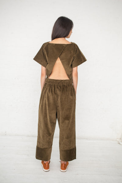 NEHERA Olka Soft Corduroy Jumpsuit in Army Green | Oroboro Store | New York, NY