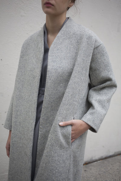 Melton Wool Coat in Grey