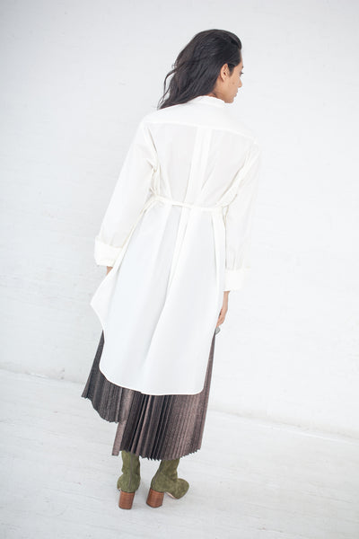 Long Shirt with Stand Up Collar in White | Oroboro Store | New York, NY