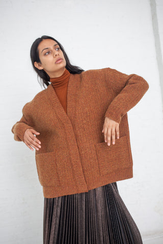 Boiled Knit Cardigan in Brown | Oroboro Store | New York, NY