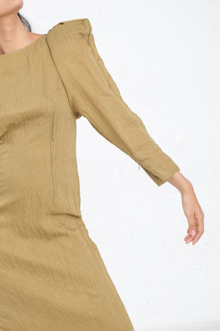 Power Shoulder Dress in Mustard | Oroboro Store | New York, NY