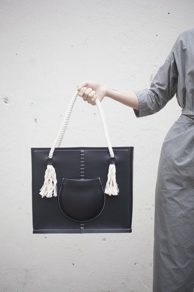 Eatable of Many Orders Pocket Tote Bag in Black | Oroboro Store | Brooklyn, New York