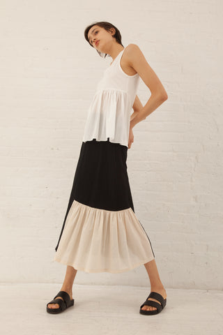 Correll Correll Flocco Skirt in Black/Ivory | Oroboro Store | New York, NY