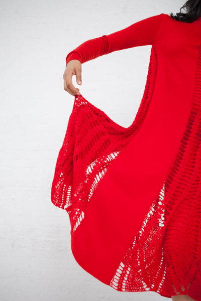 Ryan Roche Midi Dress with Crochet Inserts in Red | Oroboro Store | New York, NY