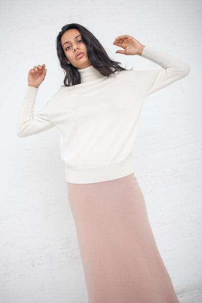 Ryan Roche T Neck Sweater in Ivory | Oroboro Store | New York, NY