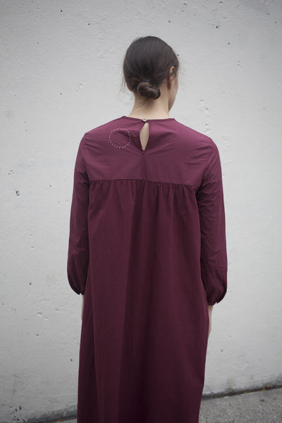 Organic Cotton Day Dress in Natural Red