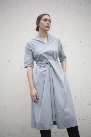 Cosmic Wonder Wrapped Flared Dress in Heather Grey | Oroboro Store | Brooklyn, New York