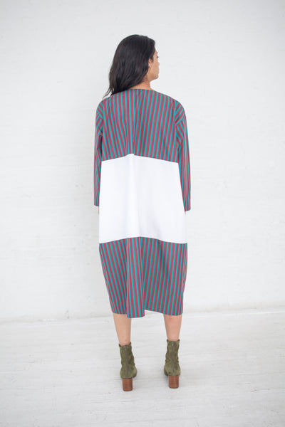 Nancy Stella Soto Poplin Two-Toned Dress in Burgundy and Green Stripe with White | Oroboro Store | New York, NY