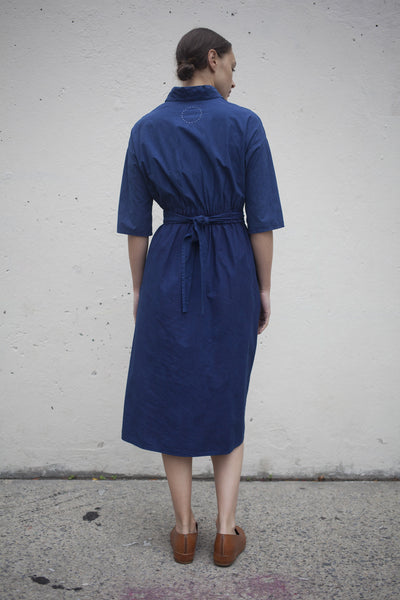 Cosmic Wonder Wrapped Flared Dress in Natural Indigo