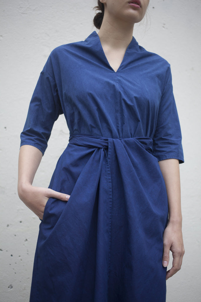 Cosmic Wonder Wrapped Flared Dress in Natural Indigo | Oroboro Store | Brooklyn, New York