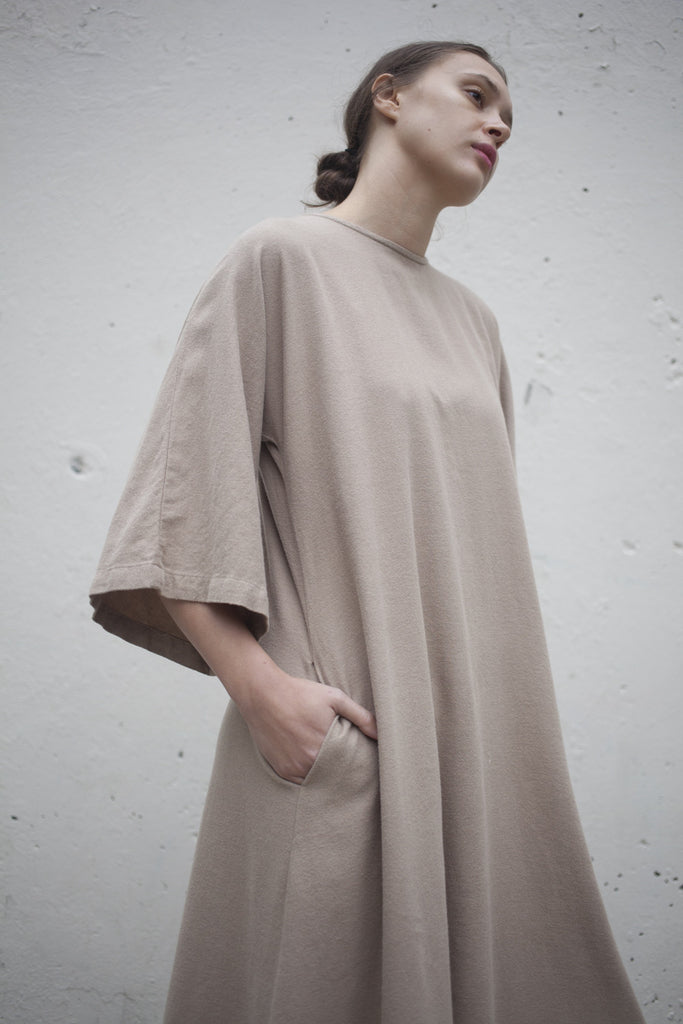 Black Crane Origami Dress in Sand | Oroboro Store | Brooklyn, New York