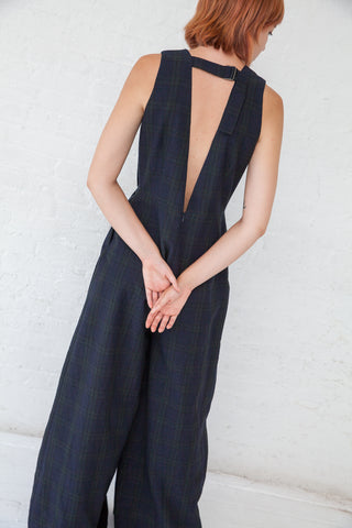 Samuji Concetta Jumpsuit in Navy/ Dark Green | Oroboro Store | New York, NY
