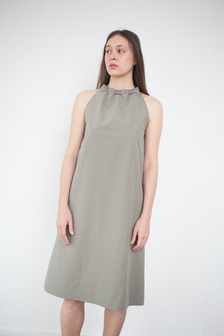 Nomia Gathered Halter Dress in Stone | Oroboro Store | Brooklyn, New York