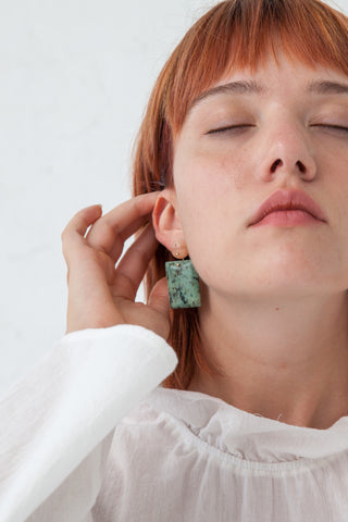 Jessica Winzelberg Mobile Earrings  in Aventurine & African Jasper | Oroboro Store | New York, NY