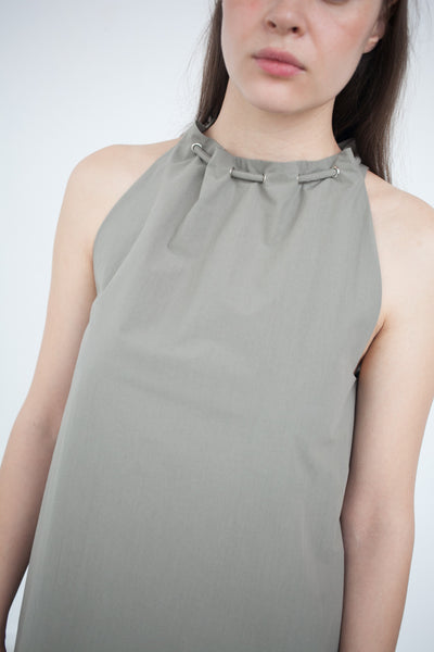 Gathered Halter Dress in Stone
