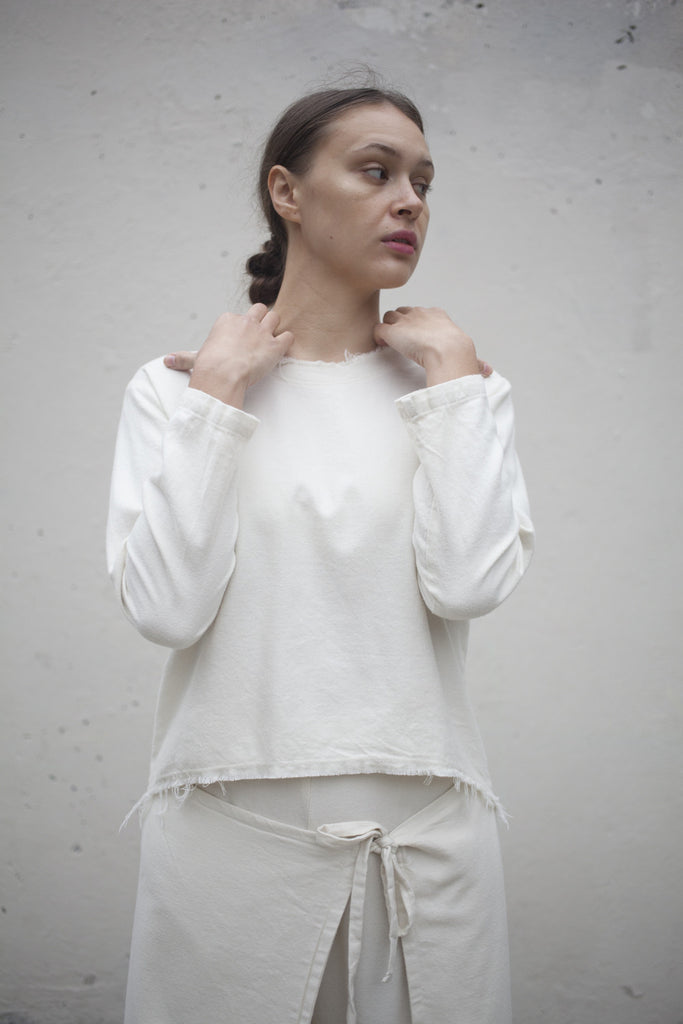 Black Crane Wide Top in Cream | Oroboro Store | Brooklyn, New York