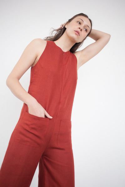 Nomia Cropped Jumpsuit in Brick | Oroboro Store | Brooklyn, New York