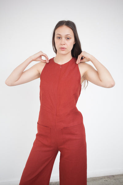 Cropped Jumpsuit in Brick