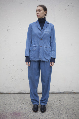 Denim Suit Trousers in Medium Wash