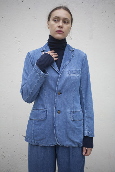 Denim Suit Blazer in Medium Wash