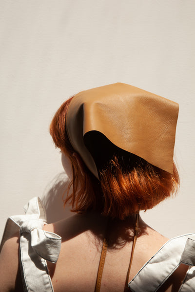 Clyde Lambskin Triangle Scarf in Brown | Oroboro Store | New York, NY