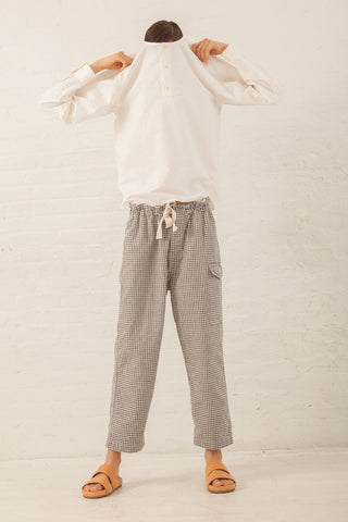 Chimala Military Drawstring Work Pants in Gingham Check | Oroboro | New York, NY