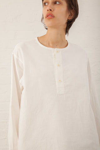 Chimala Long Sleeve Henley Shirt Panama Cloth in Off White | Oroboro | New York, NY