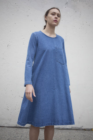 69 Long Sleeve Basic Dress in Medium Wash | Oroboro Store | Brooklyn, New York