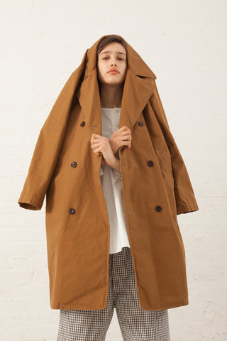 Chimala Double Breast Long Coat Slub Duck in Camel | Oroboro | New York, NY